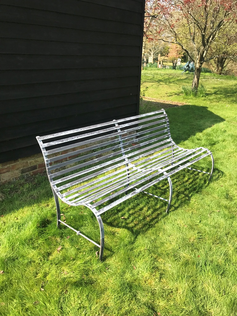Charlton Ironworks - Galvinised Steel 3 Seater Curve Bench (1)