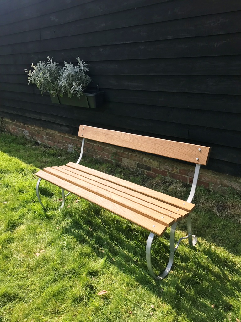 Charlton Ironworks - Oak Slat and Steel Garden Bench (1)